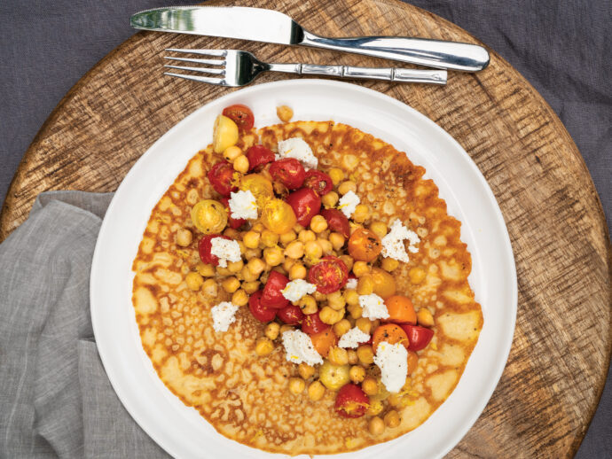 Socca Flatbreads with Roasted Cherry Tomatoes, Chickpeas, and Lemon Zest