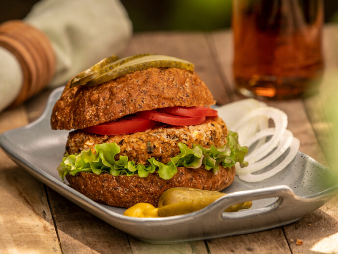 Gluten-Free Panko-Crusted Black Bean and Sweet Potato Burgers