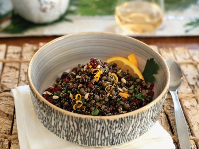 Spiced Black Quinoa and Du Puy Lentil Pilaf with Cumin-Ginger Vinaigrette